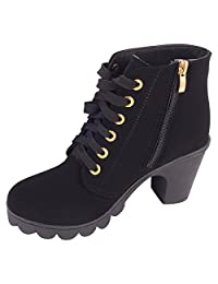 CHNHIRA Womens High Heel Martin Ankle Boots