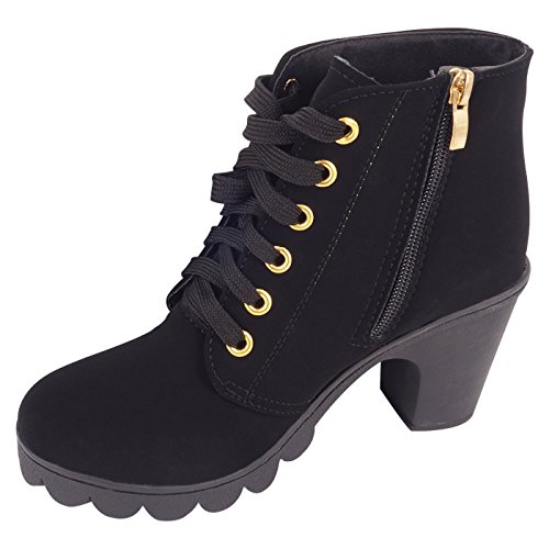 CHNHIRA Womens High Heel Martin Ankle Boots (6 D(M) US, Black)