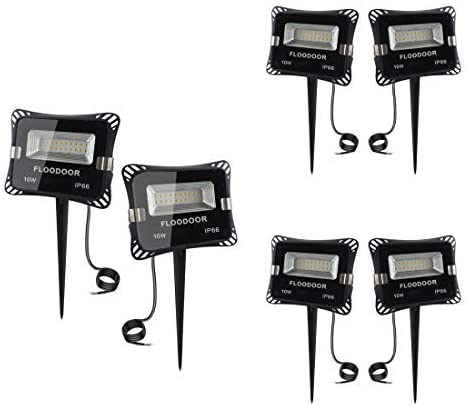 FLOODOOR 12V LED Landscape Lighting 10W Low Voltage AC or DC Outdoor Spotlight, Warm White 3000K, IP66 Waterproof Flood Light with Spike Stand Suitable for Garden,Tree, Lawn, Yard, Fence 6 Pack