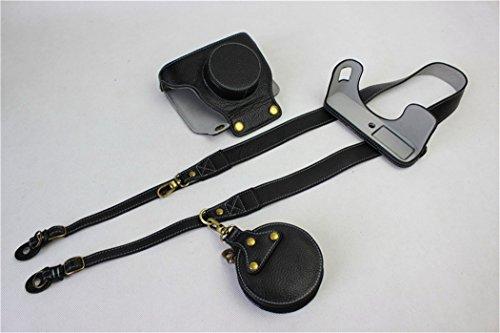 X100F Case, BolinUS Handmade Genuine Real Leather FullBody Camera Case Bag Cover for Fujifilm X100F Bottom Opening Version + Neck Strap + Mini Storage Bag -Black by BolinUS