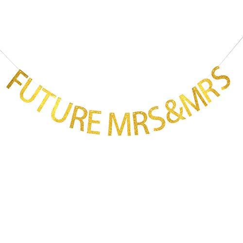 FUTURE MRS & MRS Gold Glitter Banner,engagement announcement,For girls dinner,Party decor. by santonila