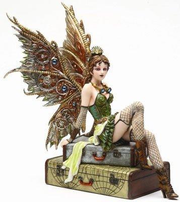 PTC 9.38 Inch Steampunk Fairy Sitting on Vintage Luggage Statue Figurine]()