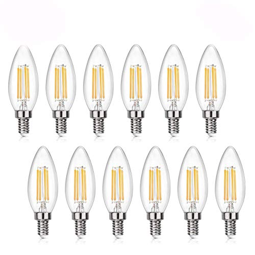 WV LeisureMaster Dimmable LED Candelabra Bulb 4W 500LM 2700K Warm White, 60W Equivalent E12 Base Filament LED Candle Bulbs, B11 Clear Glass Torpedo Shape Bullet Top, 360 Degrees Beam Angle, 12 Pack