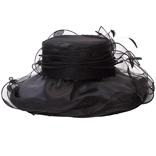 June's Young Women Race Hats Organza Hat with Ruffles Feathers Black Polka Dot
