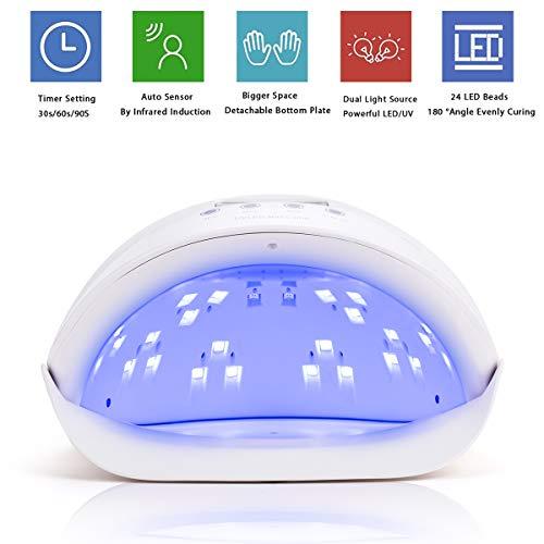 KUNIDE 54W UV LED Nail Lamp Dryer for Fingernail & Toenail Gel Nail Polishes Professional Nail Dryer with Sensor and 4 Timer Settings - White