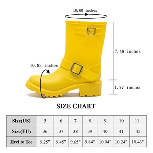 DKSUKO Womens Rain Boots with Elastic Adjust Waterproof -6 Colors-Motorcycle Boots for Girls JXC01 (7 B(M) US, Yellow) by DKSUKO (Image #5)
