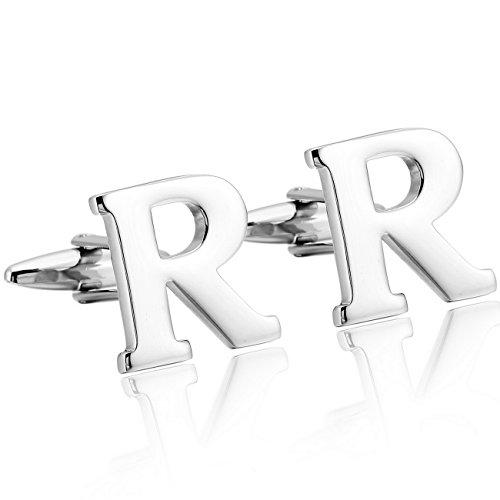 (MOWOM Silver Tone 2PCS Rhodium Plated Cufflinks Initial Letter Capital Alphabet R Shirt Wedding)