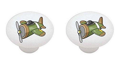 Drawer Knob Plane (SET OF 2 KNOBS - Airplanes Airplane #13841 Green Brown Plane - DECORATIVE Glossy CERAMIC Cabinet PULLS Dresser Drawer KNOBS)