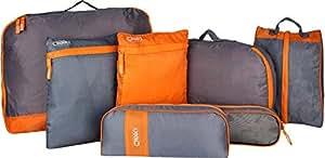 7 Pieces luggage travel organizer bag orange and grey