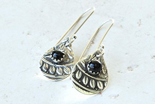 Ma'at Goddess Teardrop Earrings with Garnet Gemstones in Argentium Sterling Silver by BANDANA GIRL