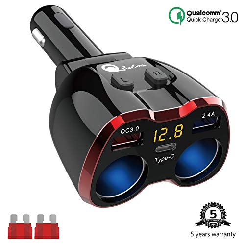 Cigarette Lighter Splitter QC 3.0, 2-Socket USB C Car Charger Adapter Type C Multi Power Outlet 12V/24V 80W DC with LED Voltmeter Switch Dual USB Port for iPhone GPS Dashcam iPad Android Samsung
