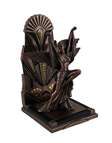 Veronese Resin Decorative Bookends The Winged Woman Metallic Copper Finish Art Deco Single Bookend Statue 5.5 X 9 X 4.75 Inches ()