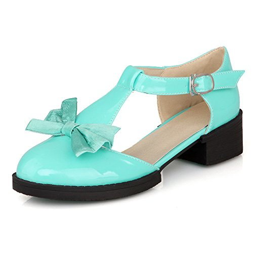 VogueZone009 Womens Closed Round Toe Low Heel Patent Leather PU Solid D-orsay Pumps with Bowknot Blue sjaSoYj