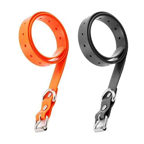 ETPET Dog Collar Belt for Most of Electronic Training Shock Collar Receivers-Adjustable Durable Waterproof Strap Replacement for Barking Collar Fence-Pet TPU Collar Strap (2 Pack Black and Orange)
