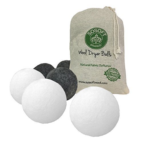 SoSoft Wool Dryer Balls 100% Premium So Soft Wool Dryer Balls XL Hand Made in Nepal All Natural Eco Friendly All Natural Fabric Softener (Gray and White)