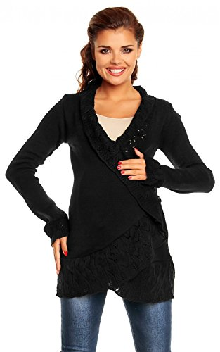 Zeta Ville - Womens Maternity Cardigan with Crochet Details Knit Warm - 406c (Black, ONE SIZE US 6/8/10)