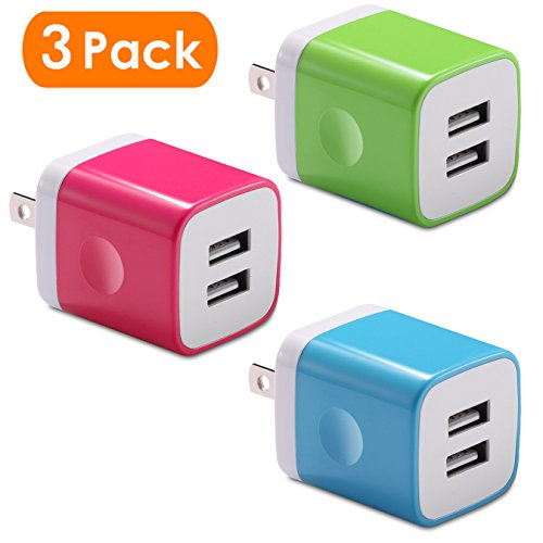 USB Wall Charger, BEST4ONE 2.1A/5V 10.5W Dual Port USB Charger AC Adapter Plug for iPhone X/8/7/6 Plus SE/5S/4S, iPad, Kindle, Moto G X, Huawei, Cell Phone (3-Pack) (Blue,Pink,Green)