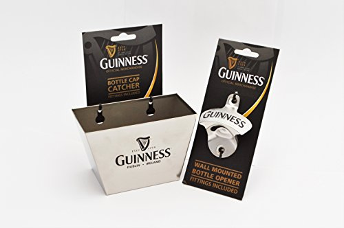 Guinness Wall Mount Bottle Opener & Cap Catcher Set