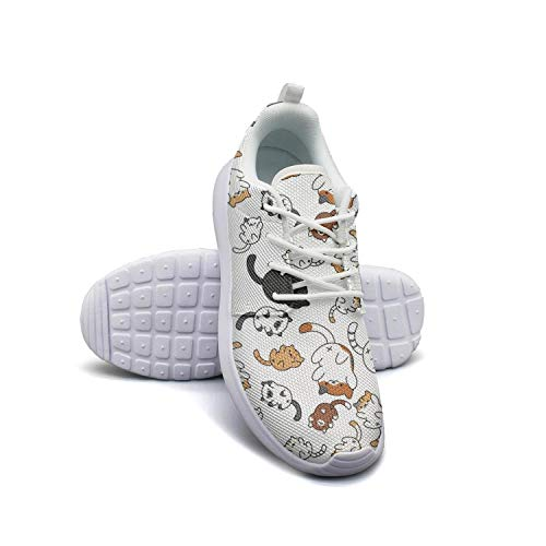 On line 2018 cartoon lovely big and small cat white Tennis Shoes for Women Classic Shock Absorption Best Running Shoes