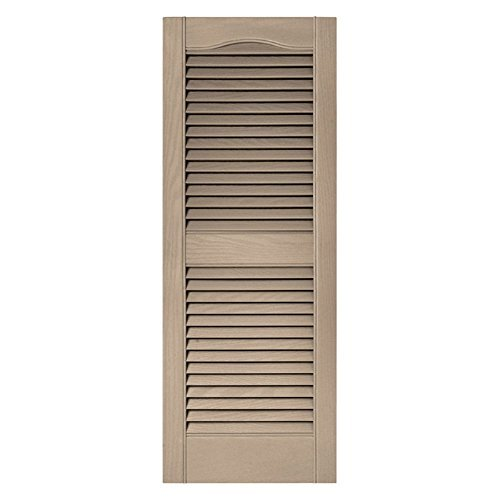 Wicker Louvered Shutter (15 in. x 72 in. Louvered Vinyl Exterior Shutters Pair in #023 Wicker Size: 14.5 in. W x 1 in. D x 71.8125 in. H (8.39 lbs.), Model: 10140072023, Tools)