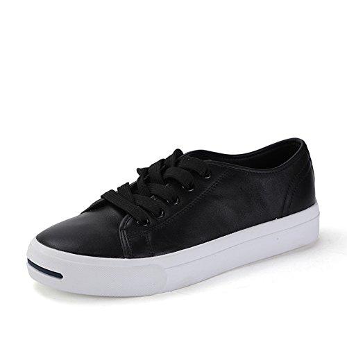 Zapatos abiertos de otoño/Riendo la redonda cabeza bajo el zapato de/De encaje zapatos de skate Negro