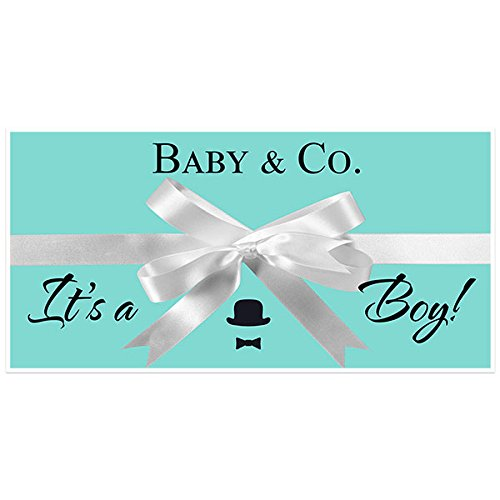 Tiffany Blue Boy Baby Shower Banner Personalized Custom Party Backdrop - Baby Tiffany Co And