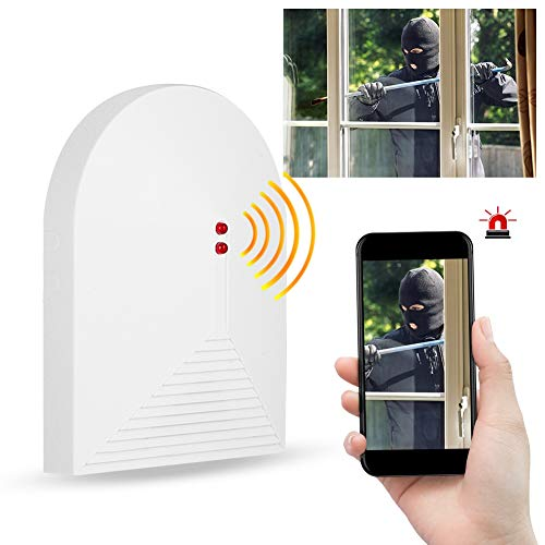 Wireless Glass Break Detector - 433MHz Crystal Broken Glass Alarm Sensor Window Home Security Alarm System for Home, Office, Dorm Room ()