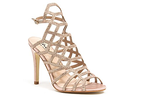 LADY COUTURE WOMEN'S STRAPPY SANDAL WITH DIAMOND STONES CHAMPAGNE - Kent Champagne