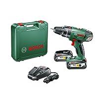 Bosch PSB 18 Li-2 - Taladro combinado a batería, 2 velocidades, sistema ECP, 0 - 1.650 rpm, 18 V, color verde y negro
