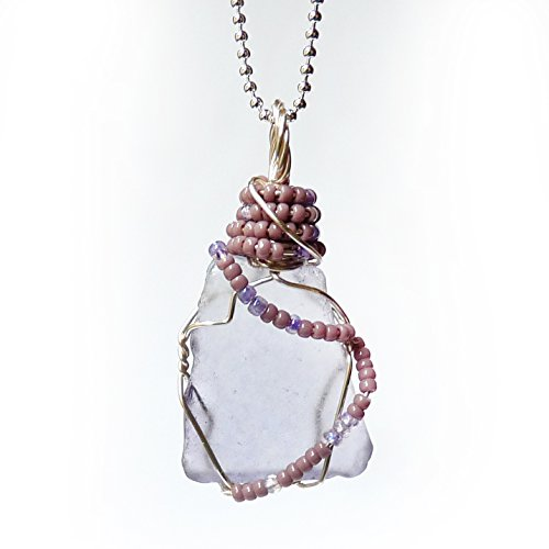 Cultured Sea Glass Shard Triangular Pendant – Translucent Lavender Purple  Bright Silver Handmade Wire Wrapped Sea Glass Pendant Necklace with Beads …