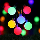 Globe Solar String Lights - RECESKY 50 LED 7m Solar Powered Christmas String Lights - Fairy Ball Lighting for Outdoor and Indoor Decor - Garden, Patio, Deck, Landscape, Wreath, Party, Home, Xmas Tree Decoration (Multi Color)