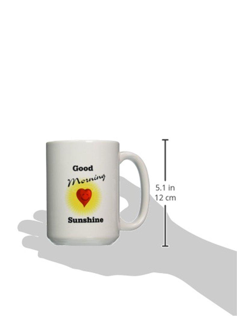 3dRose 204166/_2 Print Of Good Morning Sunshine With Sun And Heart Mug 15 oz White