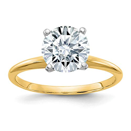 14kyw .80ct 6 mm Round Colorless Moissanite Solitaire Ring, Size: 7, 14 kt Yellow Gold