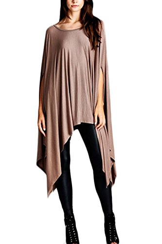 Tunic Asymetrical (Loose Fit Short Sleeve Tunic with Asymmetrical Hemline Light Coffee)