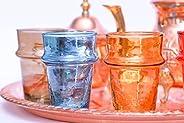 Traditional Moroccan Tea/Coffee Glass, Set Of 6 Colored Glasses | Mzouda |