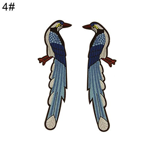 Braceus Iron On Fashion Embroidery Bird Bear Patches Applique DIY Decoration for Clothes (4# 1 Pair) (Bear 1 Embroidery)