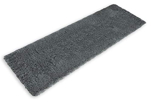 Gray Bath Mat Runner Rug Shag Non Slip Ultra Plush Microfiber Highly Water Absorbent Durable and Washable for Bathroom (20 Inch X 59 Inch) (Bathroom Carpet Runners)