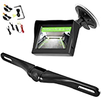 Pyle Wireless Backup Car Camera Rearview Monitor System - Parking & Reverse Safety Distance Scale Lines, Waterproof & Fog Resistant Cam, 4.3 LCD Screen Video Color Display for Vehicles-(PLCM4350WIR)