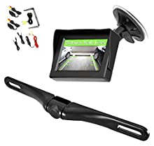 """Pyle Wireless Backup Car Camera Rearview Monitor System - Parking & Reverse Safety Distance Scale Lines, Waterproof & Fog Resistant Cam, 4.3"""" LCD Screen Video Color Display for Vehicles-(PLCM4350WIR)"""