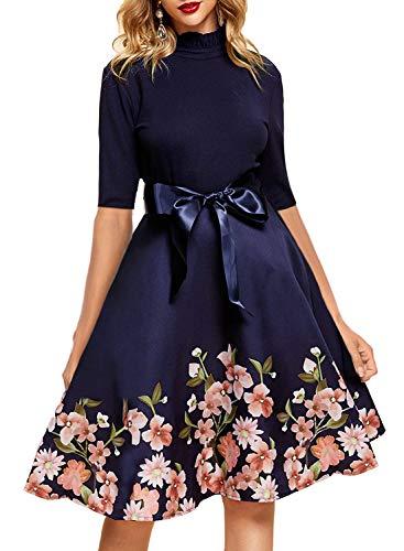 YIXUAN Women Half Sleeve Sweater Turtleneck Cocktail Swing Party Dress (XX-Large, Dark Blue)