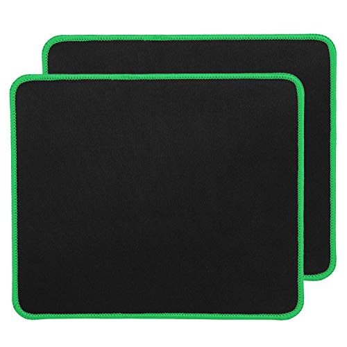 RiaTech 2 Pack (250mm x 210mm x 2mm) Mouse Pad, Water Resistance Coating Natural Rubber Gaming Mouse Pad with Stitched Embroidery Edges & Non-Slippery Rubber Base – Black with Green Border