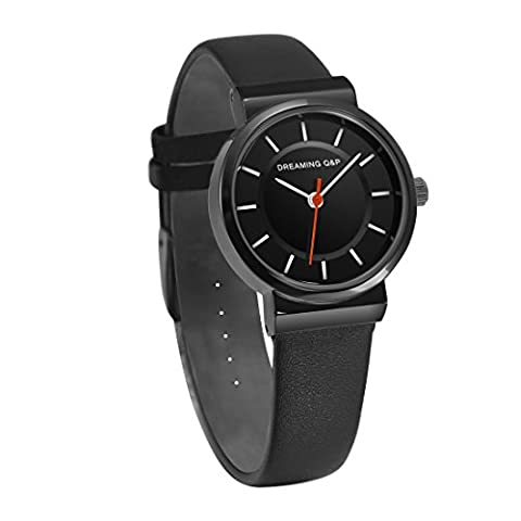 Women's Black Leather Dress Watch,Simple Style Casual Small Wrist Watches for Woman WD260 (Mens Leather Watches Small)