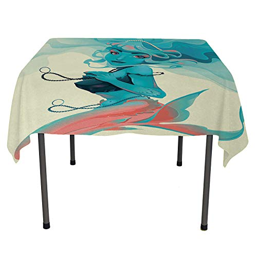 (Mermaid Non Slip Tablecloth Portrait of Gothic Style Mermaid with Makeup Mythology Fairytale Art Print Teal Pink Cream Camper Picnic Table Cloth Spring/Summer/Party/Picnic 36 by)