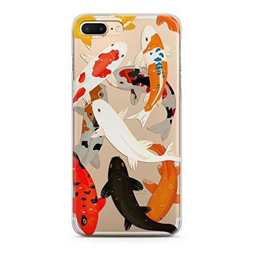 Lex Altern iPhone Apple TPU Case Xs Max Xr 10 X 8 Plus 7 6s 6 SE 5s 5 Kawaii Watercolor Koi Fish Phone Cute Cover Silicone Print Protective Orange -