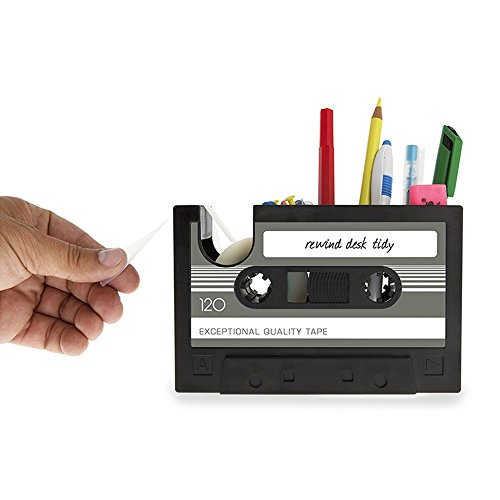 Stationary Tape - SUPOW Tape Holder Pen Holder Desk Tidy Retro Casset Shaped Tape Dispenser Pencil Holder Pen Container Organize Your Desk Office Suppliers Student Stationary, Black