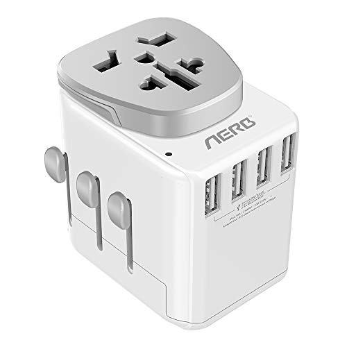 Aerb Universal Travel Adapter, 2500W High Power Adapter Worldwide All in One with 4 USB Ports Plug Adapter for US, Europe, UK, AUS