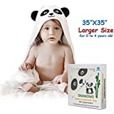 Baby Bath Hooded Towel, Washcloth with Hood, 100% Organic Bamboo, Extra Soft, Absorbent and Hypoallergenic, Perfect Baby Shower Gift, Cute Panda Style, for Newborns Infants Toddlers Kids Boys Girls