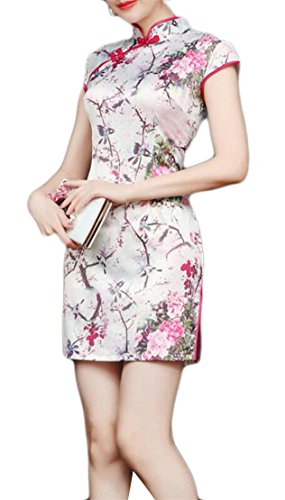 X-Future Women's Vintage Silk Floral Print Stretch Stand Collar Pencil Dress White (Floral Stretch Silk Dress)