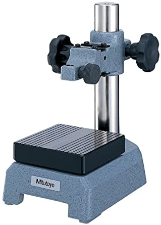 """Mitutoyo 7007-10 Dial Gage Stand, 3-1/2"""" Square Anvil, 3/8"""" Stem Mounting Hole, 4"""" Column Travel, With Fine Adjust"""