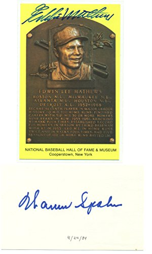 Eddie Mathews HOF Plaque and Warren Spahn Index Card Autographed - Signed - Milwaukee Braves - with Seals and Letter of Authenticity from JSA